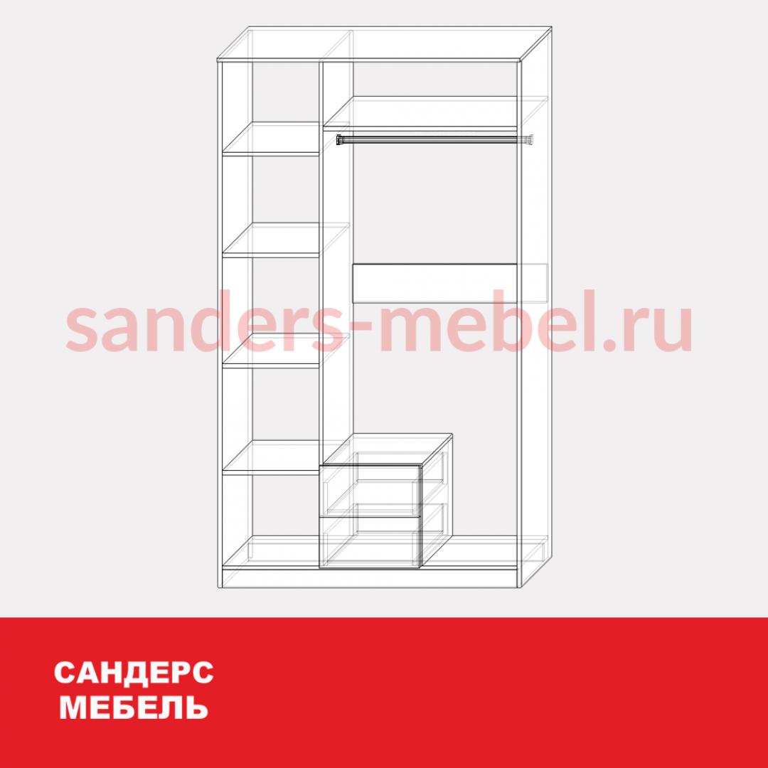 Шкаф ШК-2 с зеркалом и ящиками
